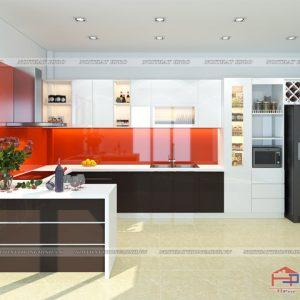 kính màu đỏ ốp bếp 03