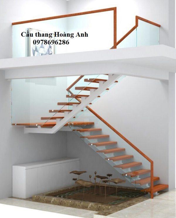 cầu thang kính cường lực tay vịn gỗ 2